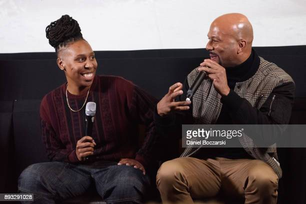Lena Waithe and Common attend the QA during an advance screening of Showtime's 'The Chi' on Chicago's South Side at SMG Chatham on December 14 2017...