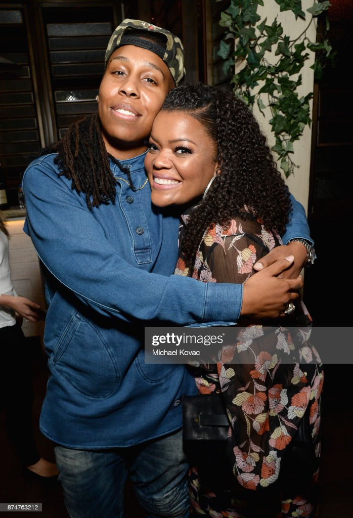 Lena Waithe (L) and Yvette Nicole Brown at Moet Celebrates The 75th Anniversary of The Golden Globes Award Season at Catch LA on November 15, 2017 in West Hollywood, California.