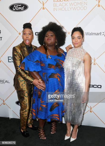 Lena Waithe Gabourey Sidibe and Tessa Thompson attend the 2018 Essence Black Women In Hollywood Oscars Luncheon at Regent Beverly Wilshire Hotel on...