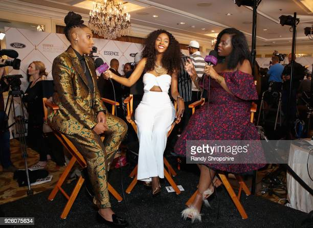 Lena Waithe is interviewed during the 2018 Essence Black Women In Hollywood Oscars Luncheon at Regent Beverly Wilshire Hotel on March 1 2018 in...