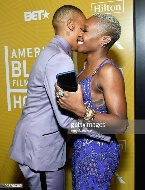 Lena Waithe poses with the Industry Renaissance Award backstage with Cynthia Erivo during the American Black Film Festival Honors Awards Ceremony at...