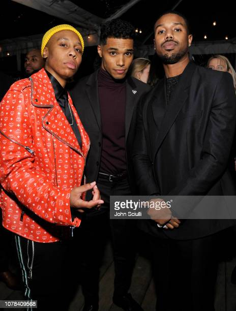 Lena Waithe Rome Flynn and Michael B Jordan attend GQ's Men of the Year Party in partnership with FIJI Water on December 06 2018 in Los Angeles...
