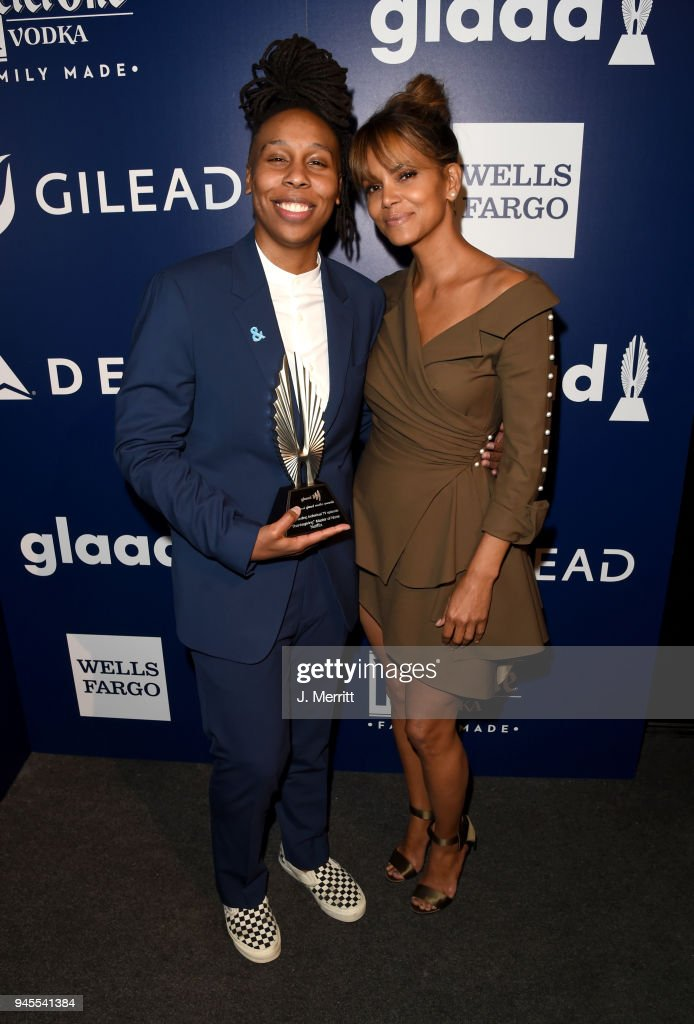 Lena Waithe, winner of Outstanding Individual Epsiode for 'Master of None' (L) and Halle Berry pose backstage at the 29th Annual GLAAD Media Awards at The Beverly Hilton Hotel on April 12, 2018 in Beverly Hills, California.