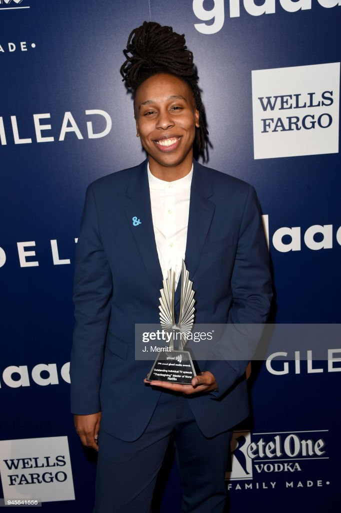 Lena Waithe, winner of Outstanding Individual Epsiode for 'Master of None' poses backstage at the 29th Annual GLAAD Media Awards at The Beverly Hilton Hotel on April 12, 2018 in Beverly Hills, California.