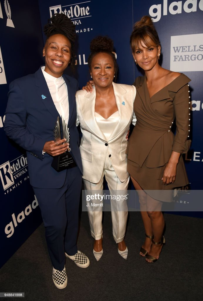 Lena Waithe, winner of Outstanding Individual Epsiode for 'Master of None', host Wanda Sykes and Halle Berry pose backstage at the 29th Annual GLAAD Media Awards at The Beverly Hilton Hotel on April 12, 2018 in Beverly Hills, California.