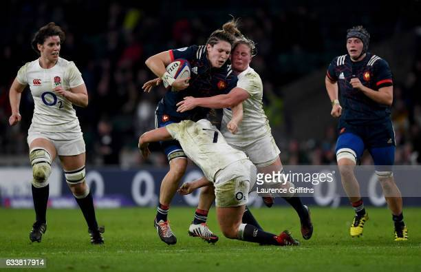 Lenaig Corson of France is tackled by the English defence during the Women's Six Nations match between England and France at Twickenham Stadium on...