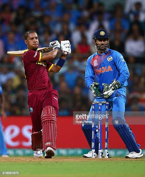 Lendl Simmons of the West Indies bats during the ICC World Twenty20 India 2016 Semi Final match between West Indies and India at Wankhede Stadium on...