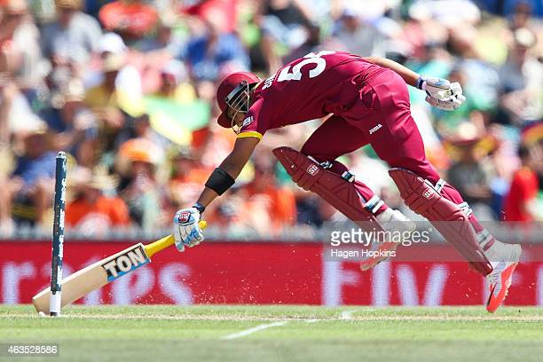 Lendl Simmons of the West Indies makes his ground during the 2015 ICC Cricket World Cup match between the West Indies and Ireland at Saxton Field on...