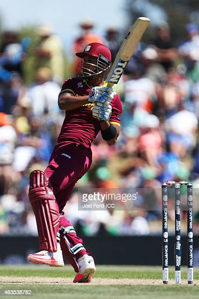Lendl Simmons of the West Indies plays a shot during the 2015 ICC Cricket World Cup match between the West Indies and Ireland at Saxton Field on...