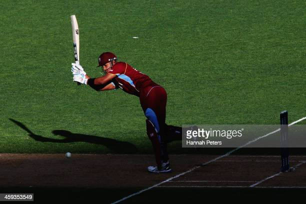 Lendl Simmons of the West Indies works the ball away for four runs during the first One Day International match between New Zealand and the West...