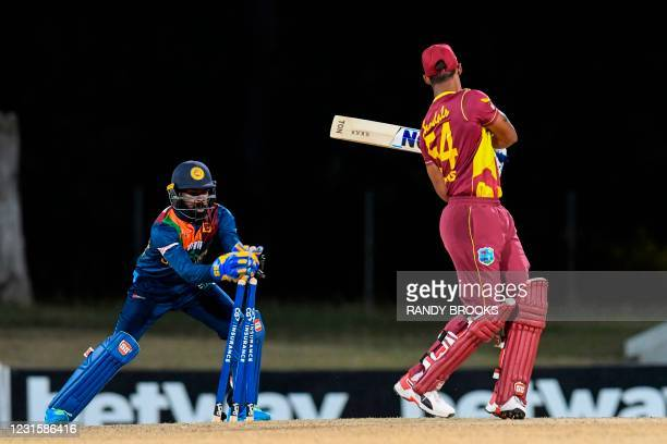 Lendl Simmons of West Indies dismissed by Niroshan Dickwella of Sri Lanka during the 3rd and final T20i match between Sri Lanka and West Indies at...
