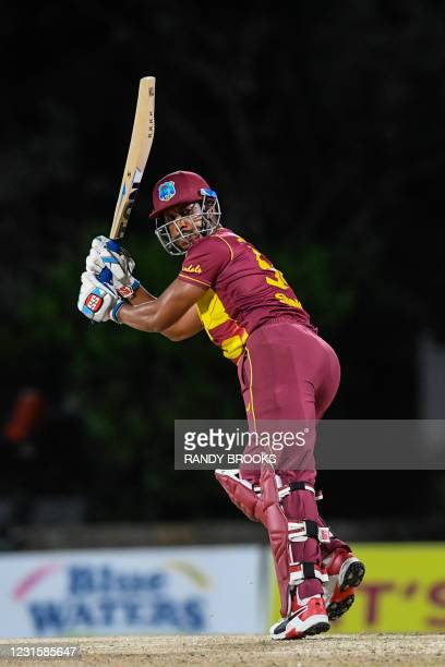 Lendl Simmons of West Indies hits 4 during the 3rd and final T20i match between Sri Lanka and West Indies at Coolidge Cricket Ground on March 7, 2021...