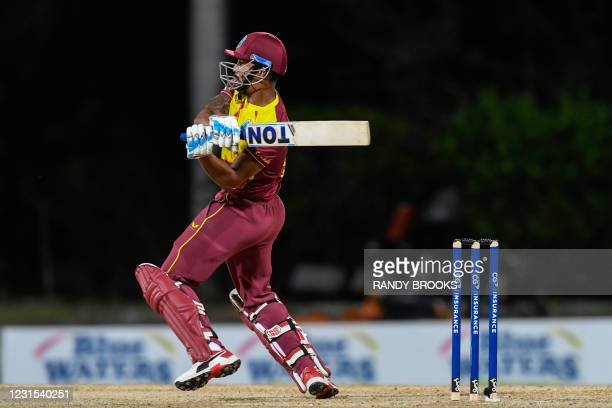Lendl Simmons of West Indies hits 6 during the 2nd T20i match between Sri Lanka and West Indies at Coolidge Cricket Ground on March 5, 2021 in...