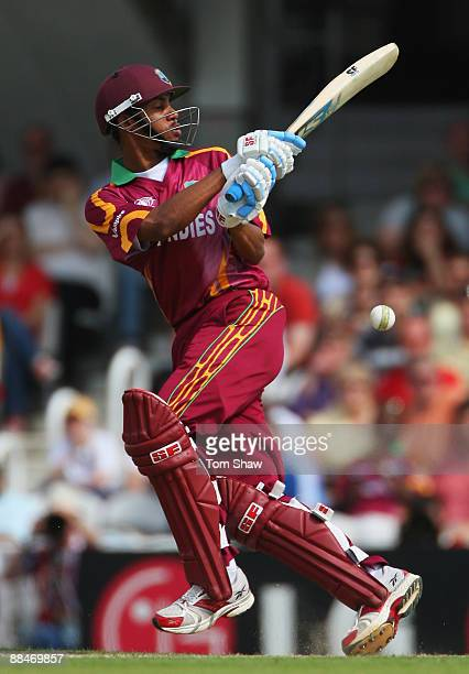 Lendl Simmons of West Indies hits out during the ICC World Twenty20 Super Eights match between South Africa and West Indies at The Brit Oval on June...