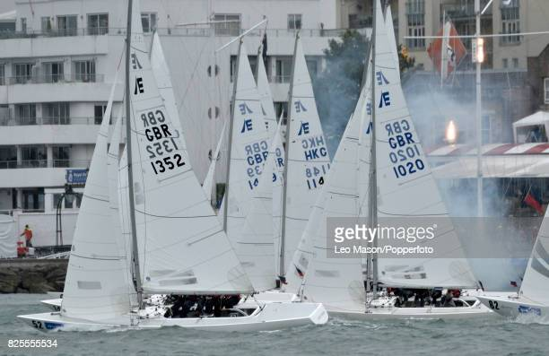 Lendy Cowes Week Sailing Etchells Class race start outside the Squadron on August 2 2017 in Cowes England