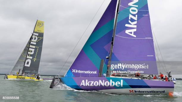 Lendy Cowes Week Sailing Triple Crown Ocean Racers Round The Island Race Team Brunel NL and Team Akzonobel NL on August 2 2017 in Cowes England
