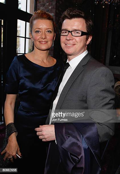 LONDON APRIL 13 Lene Bausager and Rick Astley attends the Flashbacks Of A Fool film premiere Drinks Reception held at the Empire Leicester Square on...
