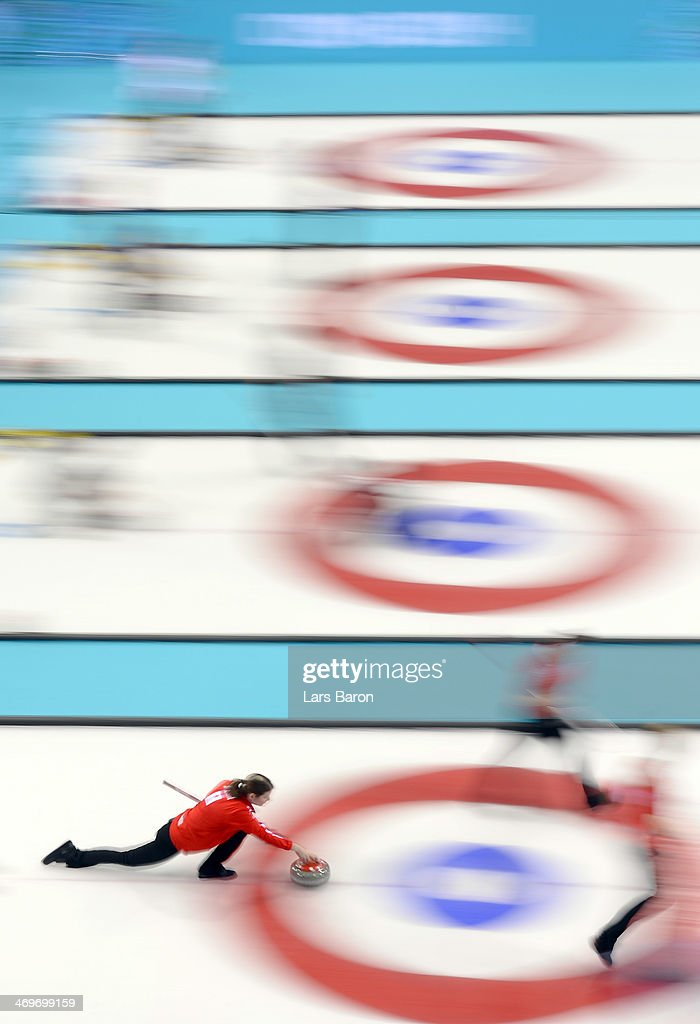 Lene Nielsen of Denmark in action during Curling Women's Round Robin match between Denmark and Republic of Korea on day nine of the Sochi 2014 Winter Olympics at Ice Cube Curling Center on February 16, 2014 in Sochi, Russia.