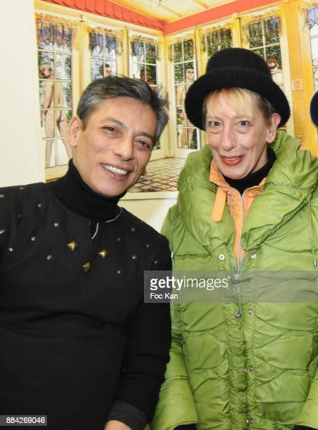Lenedy Angot and Ouamee Schlumberger attend Lenedy Angot Calendar 2018 launch at Galerie Fabrice Hybert on December 1 2017 in Paris France