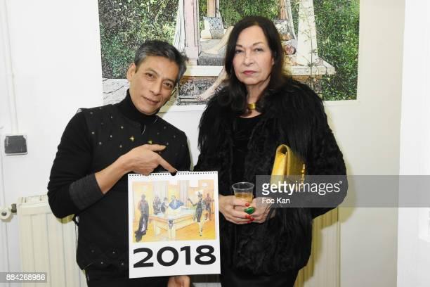 Lenedy Angot and Vix Foster attend Lenedy Angot Calendar 2018 launch at Galerie Fabrice Hybert on December 1 2017 in Paris France