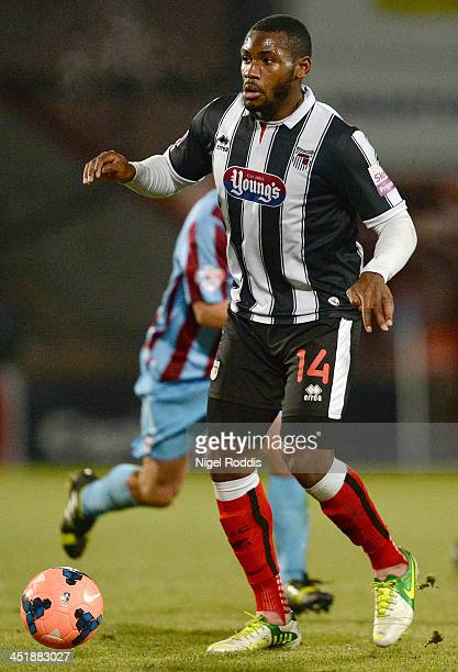 Lenell JohnLewis of Grimsby Town during their FA Cup First Round Replay against Scunthorpe United at Glanford Park on November 19 2013 in Scunthorpe...
