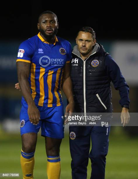 Lenell JohnLewis of Shrewsbury Town and Paul Hurst manager of Shrewsbury Town during the Sky Bet League One match between Shrewsbury Town and...