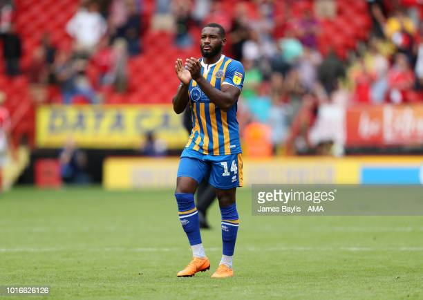 Lenell JohnLewis of Shrewsbury Town applauds the Shrewsbury Town supporters during the Sky Bet League One match between Charlton Athletic and...
