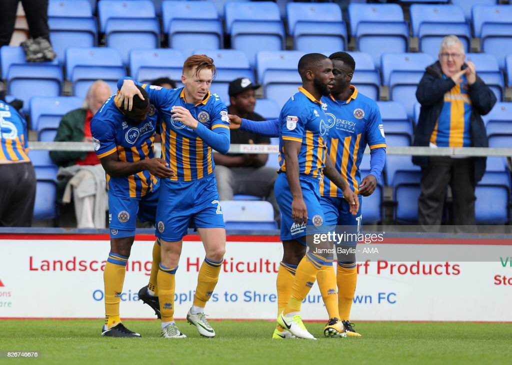 Lenell John-Lewis of Shrewsbury Town celebrates with his team mates after scoring a goal to make it 1-0 during the Sky Bet League One match between Shrewsbury Town and Northampton Town at New Meadow on August 5, 2017 in Shrewsbury, England.