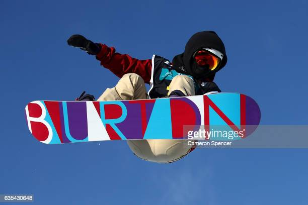 Leng Qui of China rides during a training session for the FIS Freestyle World Cup 2016/17 Snowboard Halfpipe at Bokwang Snow Park on February 15 2017...