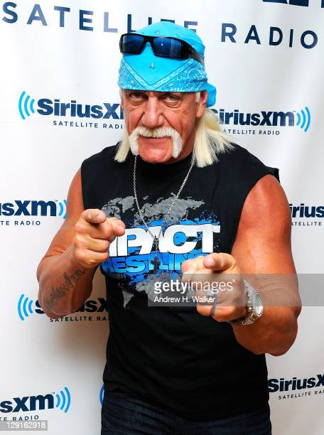 Lengendary wrestler Hulk Hogan visits SiriusXM Studios on October 13 2011 in New York New York Hogan was promoting heavyweight championship match...