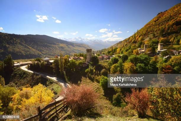 lengeri village in upper svaneti, georgia - コーカサス山脈 ストックフォトと画像