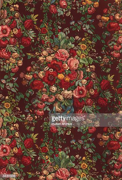 A length of floral patterned chintz fabric printed by Japui Son of Paris A print by F Moras after H Rafter