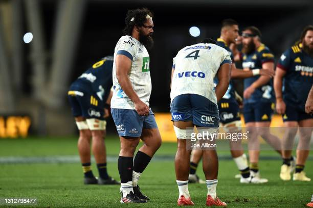 Leni Apisai of the Blues looks on following the round eight Super Rugby Aotearoa match between the Highlanders and the Blues at Forsyth Barr Stadium,...
