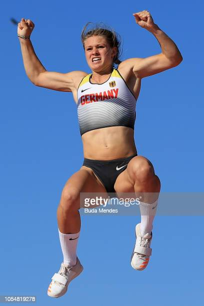 Leni Freyja Wildgrube of Germany celebrates her gold medal in Women's Pole Vault Stage 2 during day 8 of Buenos Aires 2018 Youth Olympic Games at...
