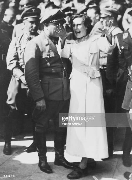 Leni Riefenstahl (Berta Helene Amalie Riefenstahl German film star and director, supporter of the Nazi party and friend of Hitler in a dramatic pose...
