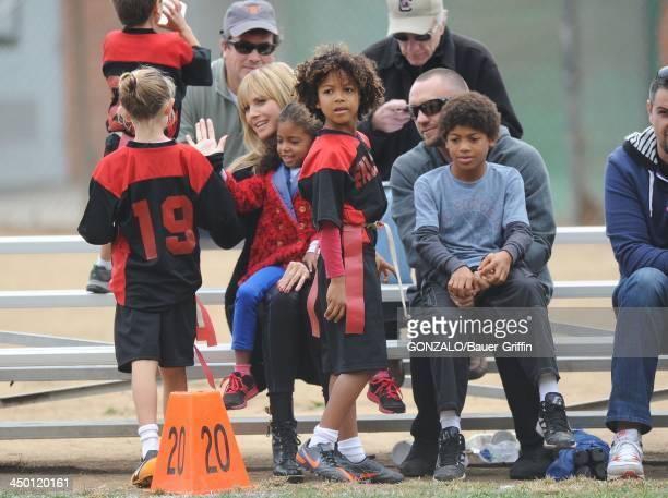 Leni Samuel, Heidi Klum, Lou Samuel, Johan Samuel, Martin Kristen and Henry Samuel are seen on November 16, 2013 in Los Angeles, California.