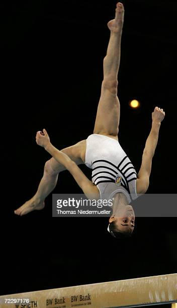 Lenika de Somone of the Czech Republic performs at the beam competition during the 2006 International Gymnastics DTB Cup at the Schleyer Hall on...
