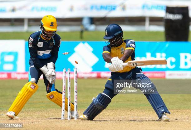 Leniko Boucher of St Lucia Zouks bowled by Hayden Walsh Jr. Of Barbados Tridents during the Hero Caribbean Premier League match 19 between Barbados...