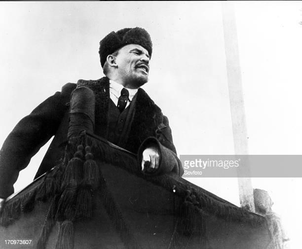 Lenin addresses crowd in new soviet russia in 1919