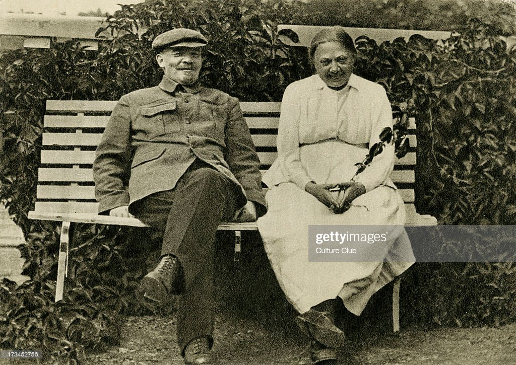 Lenin (1870-1924) and Nadezhda Krupskaya (1869-1939). Krupskaya married Lenin in 1898, and was active in Bolshevik circles up to the October Revolution of 1917. She later served as deputy Comissar of Education in the Soviet Union from 1929-1939.