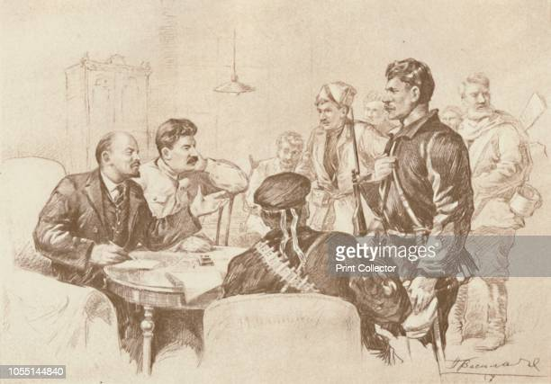 Lenin and Stalin Speaking to Red Guards in the Smolny, 1917', . Russian communist revolutionaries Vladimir Ilich Lenin and Joseph Stalin speaking to...