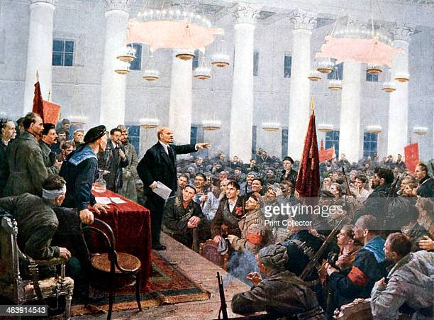 Lenin haranguing deputies of the 2nd Soviet Congress Smolny Palace St Petersburg 1917 This meeting on 26 October 1917 the day after the storming of...