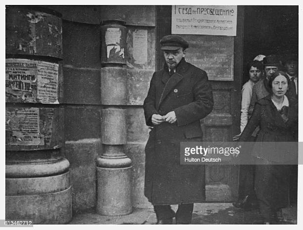 Lenin leaves the State Institute of Pedagogics after a session of the first AllRussian Congress