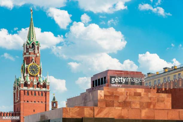 Lenin Mausoleum and Spasskaya Tower Red Square Moscow Russia