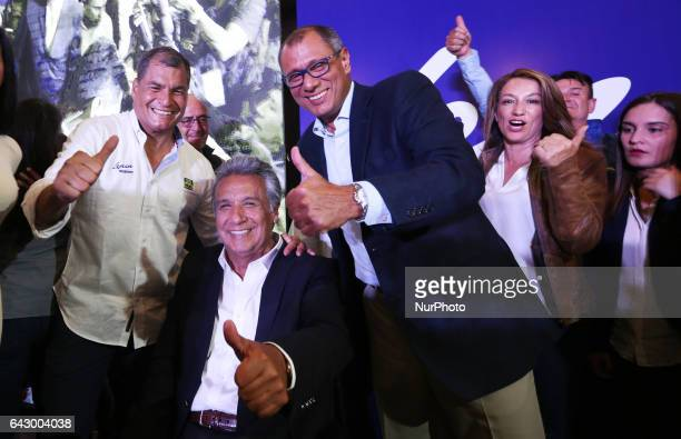 Lenin Moreno center candidate of 'Alianza País' President Rafael Correa left and Jorge Glas celebrates the victory in the first round of elections in...