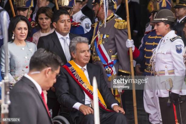 Lenin Moreno Ecuador's president center exits the National assembly building after the presidential inauguration in Quito Ecuador on Wednesday May 24...
