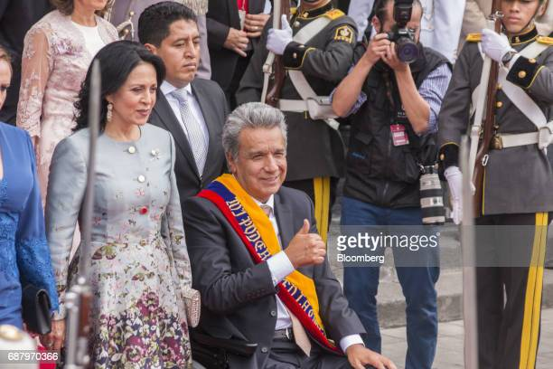 Lenin Moreno Ecuador's president center gestures while exiting the National assembly building after the presidential inauguration in Quito Ecuador on...