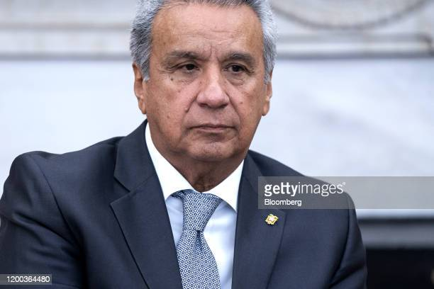 Lenin Moreno, Ecuador's president, listens during a meeting with U.S. Donald Trump, not pictured, in the Oval Office of the White House in...