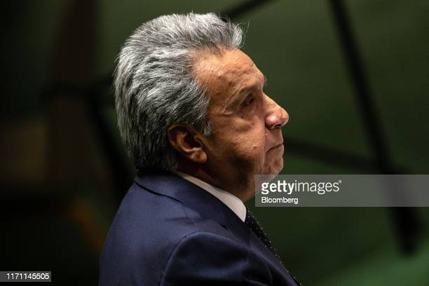 Lenin Moreno, Ecuador's president, pauses while speaking during the UN General Assembly meeting in New York, U.S., on Wednesday, Sept. 25, 2019. Hot...