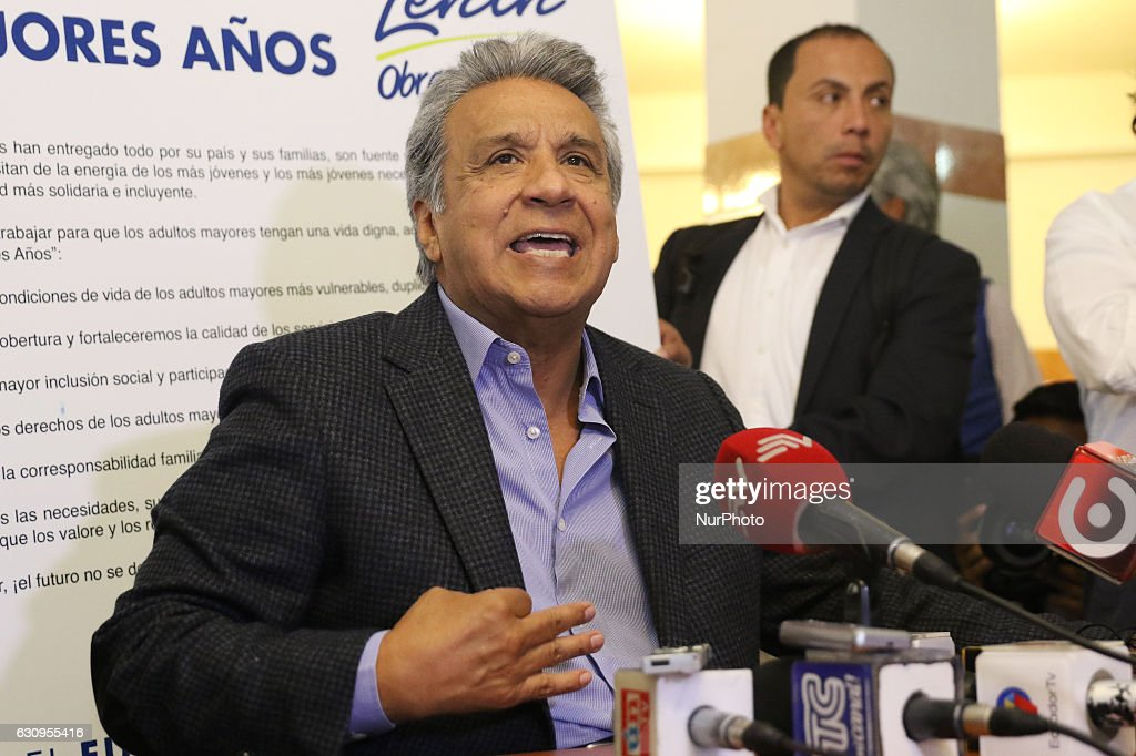 The Candidate for the presidency by Alianza País (AP) begins his electoral campaign : News Photo